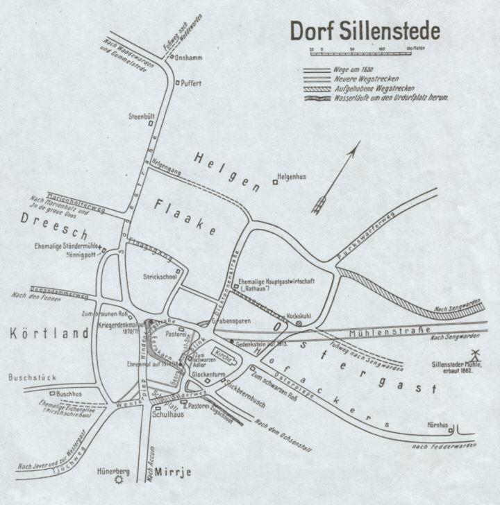 Wegekarte von Sillenstede